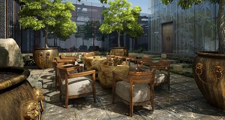 新中式酒店休息区3D模型【ID:514916255】