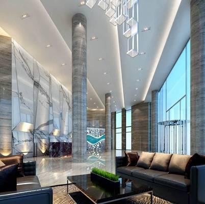 现代酒店休息区3D模型【ID:514916284】
