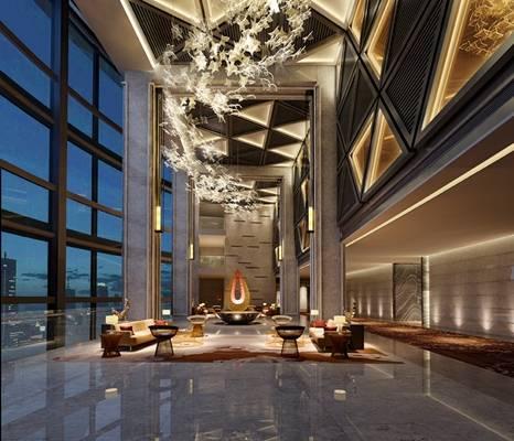 现代酒店休息区3D模型【ID:515066252】
