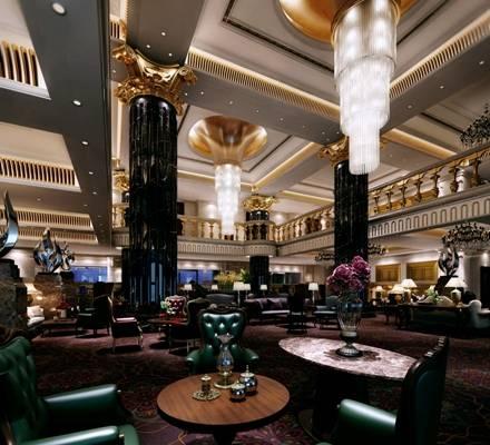 欧式古典酒店休息区3D模型【ID:515069236】