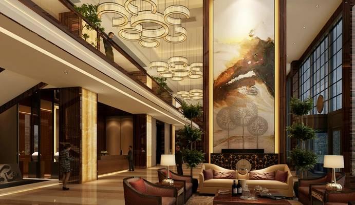 欧式简约酒店休息区3D模型【ID:515073233】