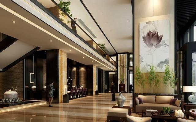 新中式酒店休息区3D模型【ID:515073245】