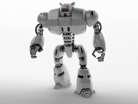银色玩具机器人3D模型【ID:515080653】