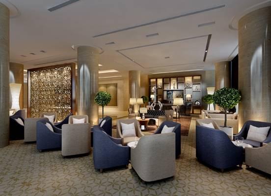 现代酒店休息区3D模型【ID:515090223】