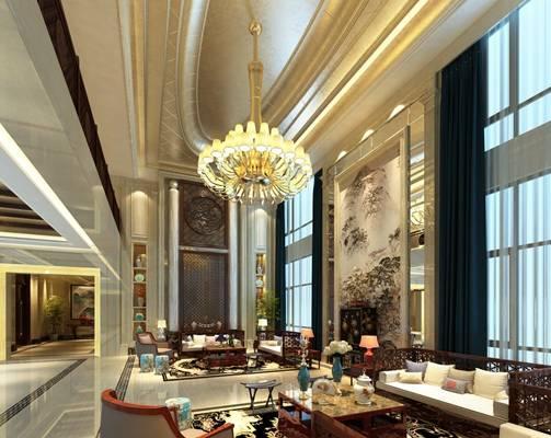 新中式白色酒店休息区3D模型【ID:515152224】
