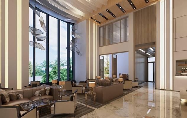 现代酒店休息区3D模型【ID:515186232】