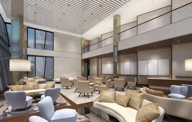 现代酒店休息区3D模型【ID:515211214】