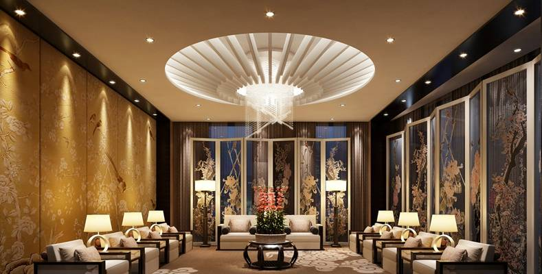 新中式酒店休息区3D模型【ID:515211252】