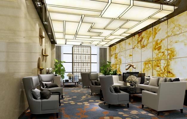 现代酒店休息区3D模型【ID:515211295】