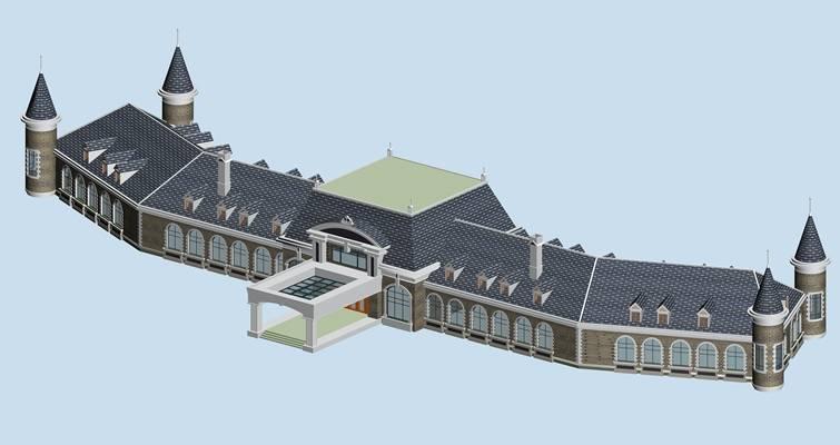 户外欧式建筑173D模型【ID:515353538】