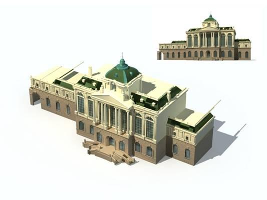 户外欧式建筑433D模型【ID:515354506】