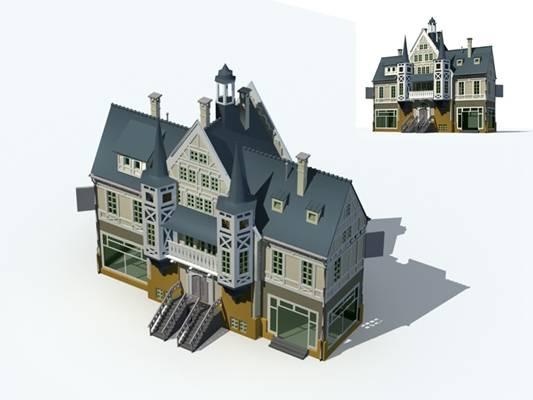 户外欧式建筑513D模型【ID:515354517】