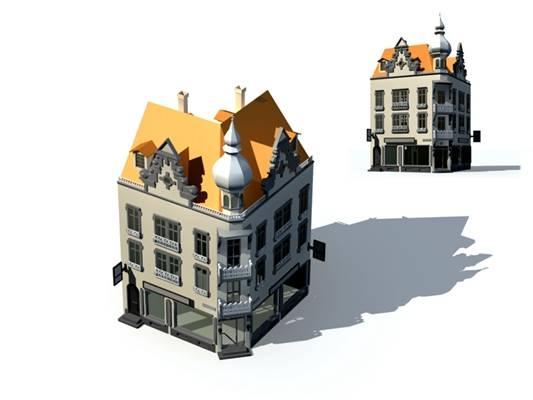 户外欧式建筑663D模型【ID:515354542】