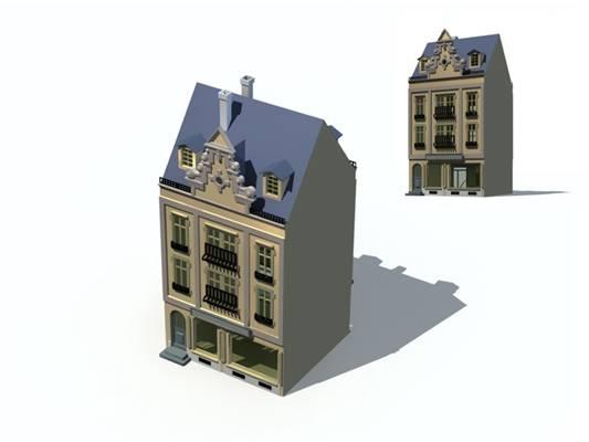 户外欧式建筑683D模型【ID:515354543】