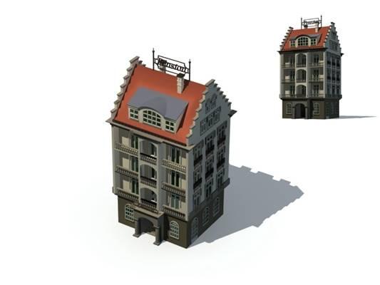 户外欧式建筑703D模型【ID:515354548】