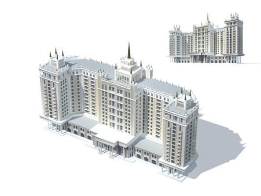 户外欧式建筑743D模型【ID:515354554】