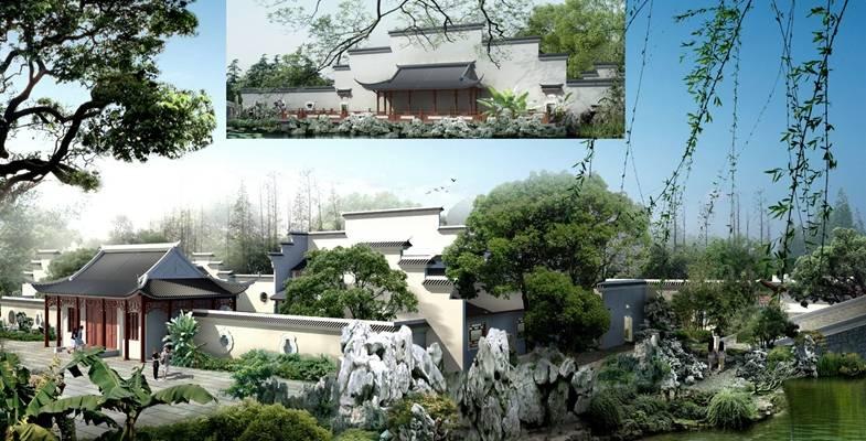 户外中式古建筑133D模型【ID:515355602】