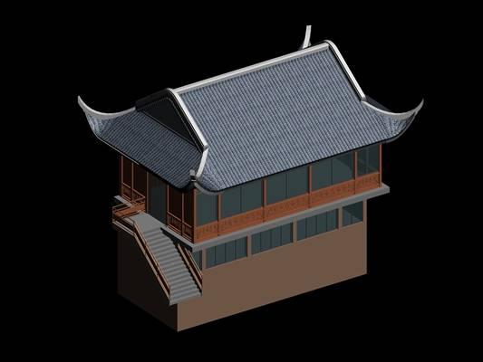 户外中式古建筑173D模型【ID:515355615】