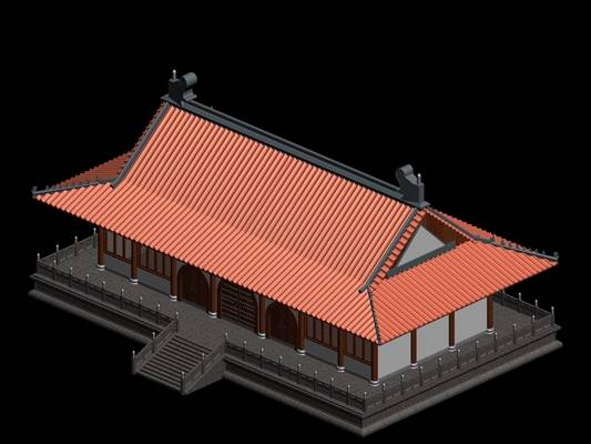 户外中式古建筑493D模型【ID:515355667】