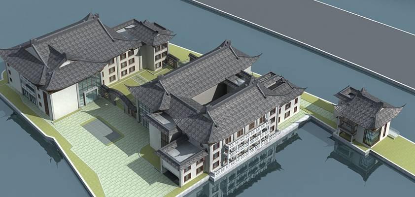 户外中式古建筑593D模型【ID:515355690】