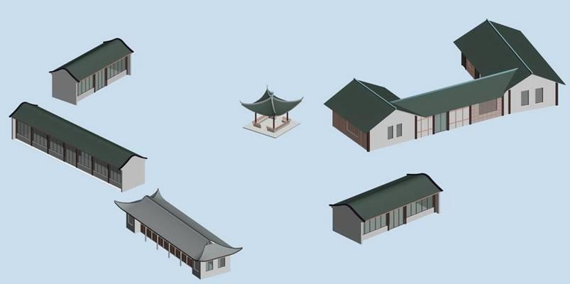 户外中式古建筑643D模型【ID:515356604】