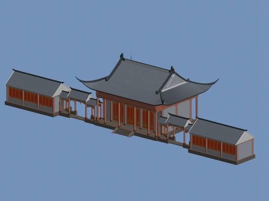 户外中式古建筑873D模型【ID:515356645】