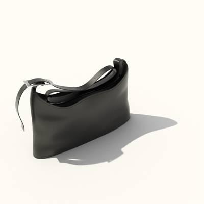 黑色皮质背包3D模型【ID:515429986】