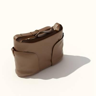 棕色皮质背包3D模型【ID:515429994】