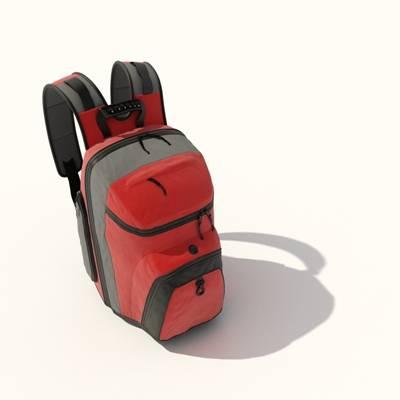 红色布艺背包3D模型【ID:515430944】