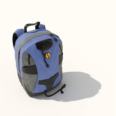 蓝色布艺背包3D模型【ID:515430957】