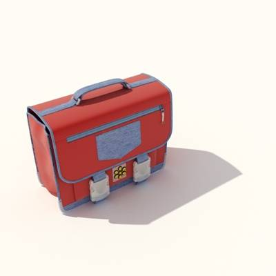 红色布艺背包3D模型【ID:515430963】