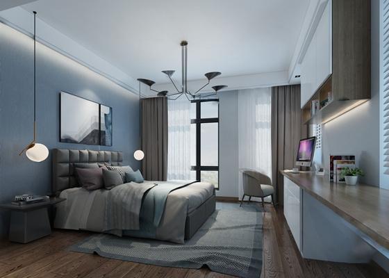 现代卧室3D模型【ID:124881332】
