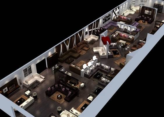 现代沙发展厅3D模型【ID:515456304】