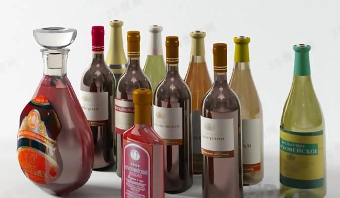 酒瓶153D模型【ID:517316959】