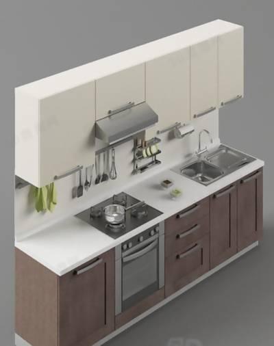 厨房壁柜83D模型【ID:517374526】
