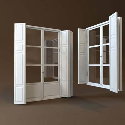 现代木艺窗户组合3D模型【ID:517469046】