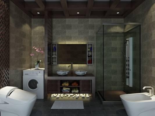 现代家居卫生间3D模型【ID:517488485】
