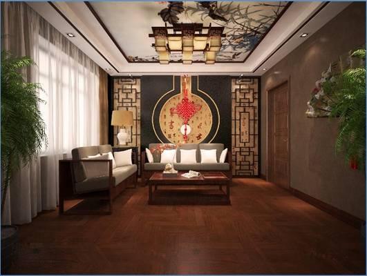 传统中式家居书房3D模型【ID:517497614】