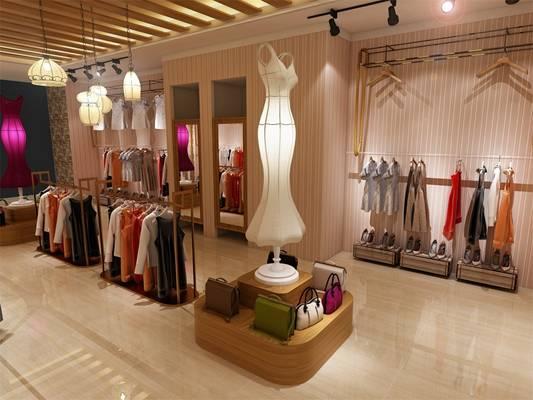 现代白色服装专卖店3D模型【ID:517517410】