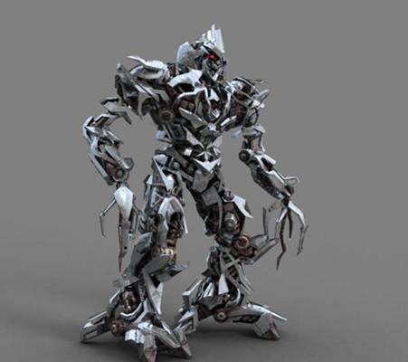 灰色铁艺玩具机器人3D模型【ID:517565627】
