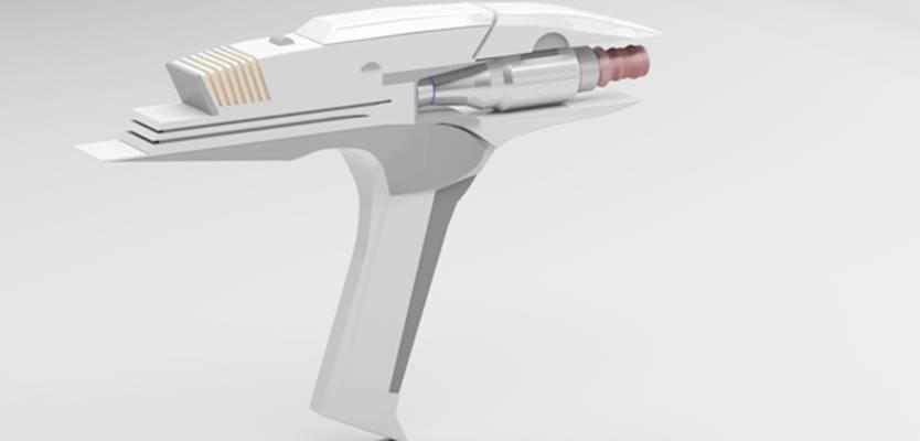 白色金属玩具枪3D模型【ID:517574213】