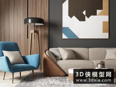 现代沙发组合国外3D模型【ID:729432662】