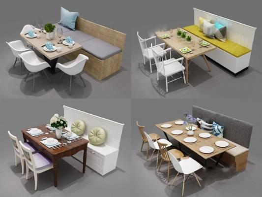 现代餐桌椅组合3D模型【ID:120015857】