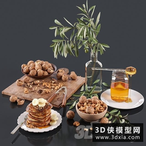 现代食品装饰品组合国外3D模型【ID:929328830】