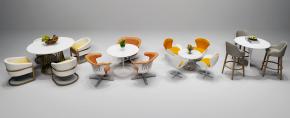 现代桌椅吧台椅摆件组合3D模型【ID:327786687】
