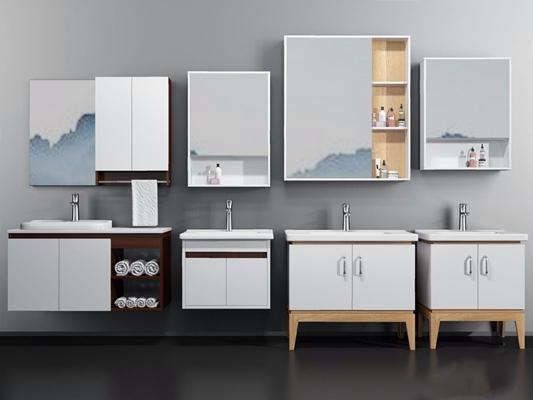 現代浴室柜3D模型【ID:128217700】