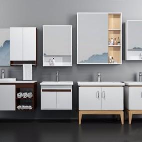 现代浴室柜3D模型【ID:128217700】