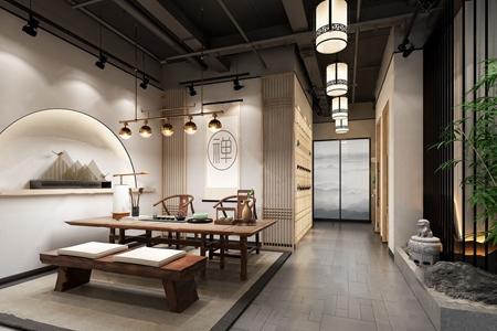 新中式茶室3D模型【ID:632413194】