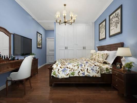 美式卧室3D模型【ID:719622752】