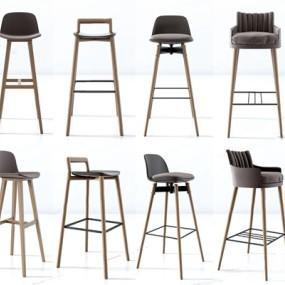 北欧吧椅组合3D模型【ID:327920124】